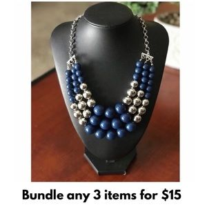 💥NEW‼️ Blue & Silver Triple Strand Bead Necklace